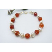 Red Fire Agate & Pearl Bracelet