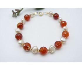 Red Fire Agate & Pearl Bracelet