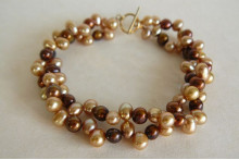 Bronze & Gold Pearl Multistrand Bracelet