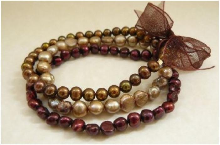 Mixed Bronze Pearl Elastic Bracelets x 3
