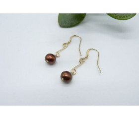 Bronze Pearl Double Loop Drop Earrings