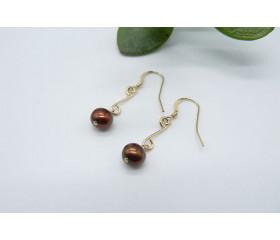 Bronze Pearl Double Loop Drop Earrings