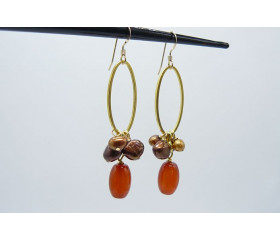 Carnelian and Bronze Pearl Hoop Drop Earrings