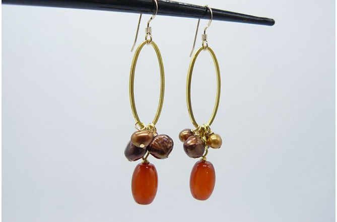 Carnelian and Bronze Pearl Hoop Drop Earrings