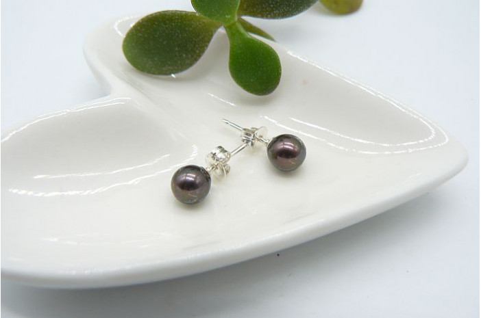SALE OFFER Dark Bronze Pearl Stud Earrings - Small