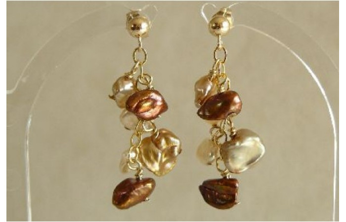 Bronze & Gold Keshi Pearl Stud Drop Earrings