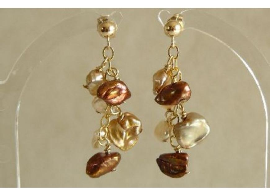 Bronze & Gold Keshi Pearl Stud Drop Earrings