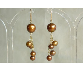 Bronze Pearl & Chain Cluster Drop Earrings