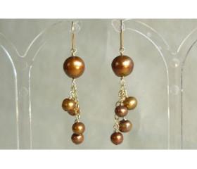 Bronze Pearl & Chain Cluster Drops
