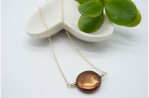 Single Bronze Coin Pearl on Gold Chain Necklace