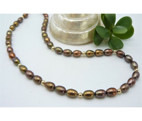 Bronze Oval Pearl & Gold Bead Necklace