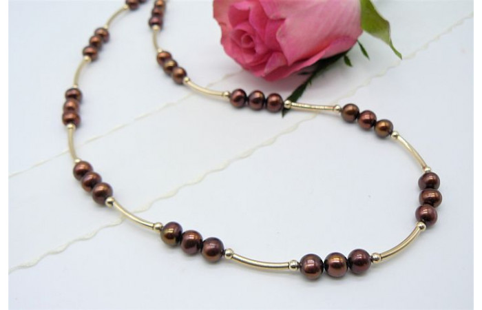 Bronze Small Round Pearl & Gold Curved Tube Necklace
