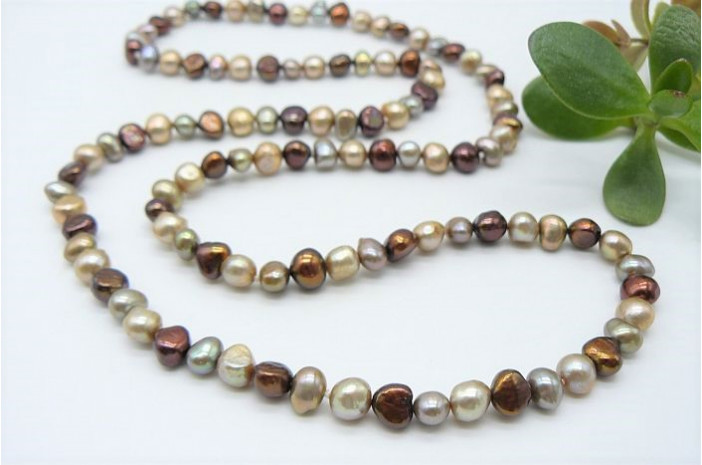Bronze & Gold Mixed Baroque Pearl Long Necklace
