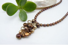 Bronze Pearl Cluster Necklace