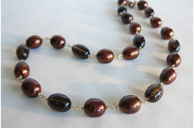 Bronze Large Oval Pearl & Smokey Quartz Necklace