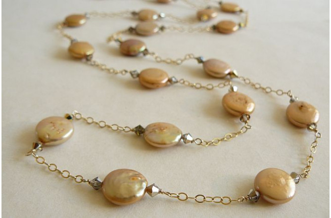 Gold Coin Pearls & Gold Chain Long Necklace