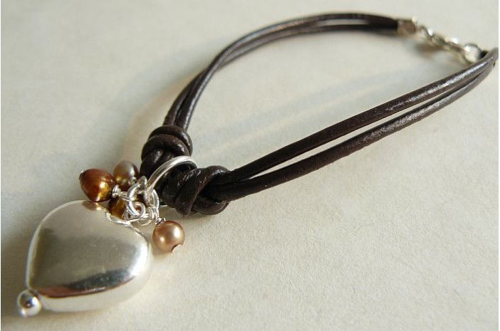 Double Brown Leather & Silver Heart Necklace