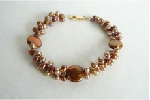 Bronze & Gold Head-Drill & Coin Pearl Bracelet