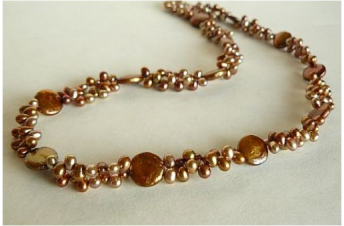 Bronze & Gold Head-Drill & Coin Pearl Necklace