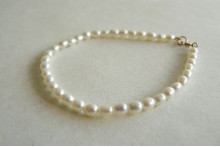 White Smallest Oval Pearl Bracelet