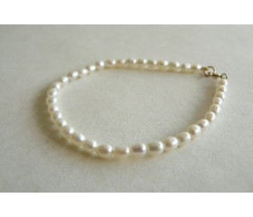 White Smallest Oval Pearl Bracelet