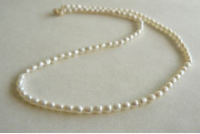 Children's Smallest Oval White Pearl Necklace