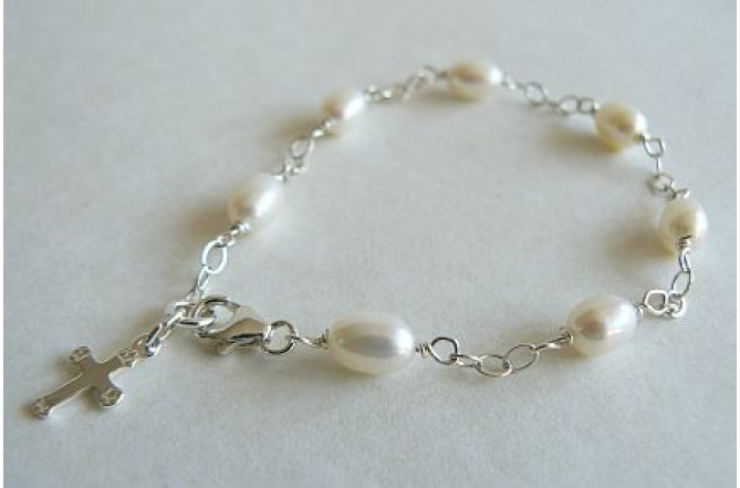 Children's White Pearl & Cross on Silver Chain Bracelet