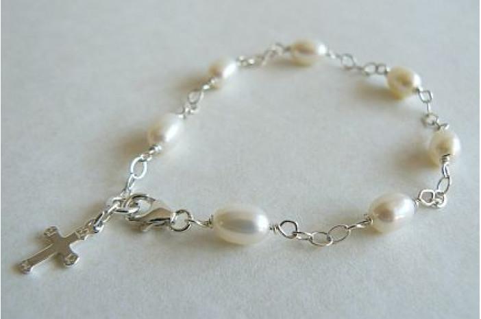 Children's White Pearl & Cross on Silver Chain Bracelet