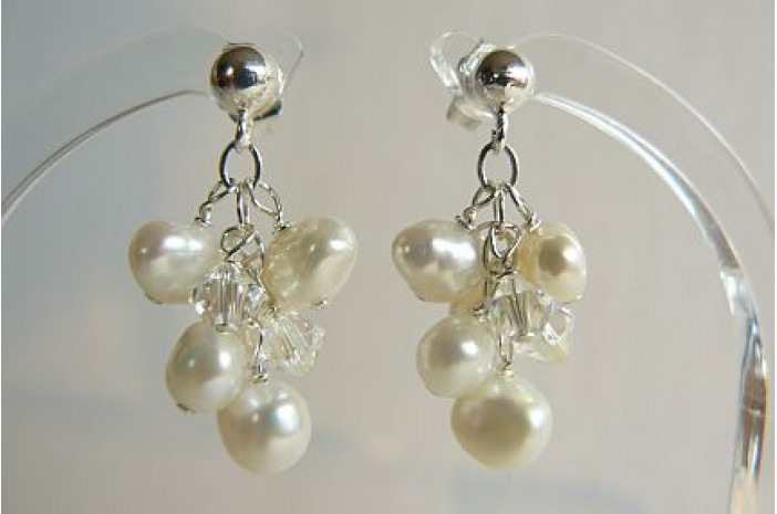 White Pearl Small Cluster Drops on Silver