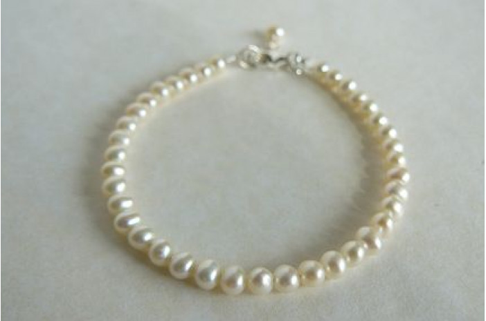 Children's Smallest White Round Pearl Bracelet
