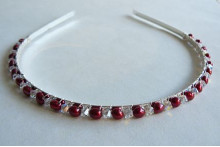 Red Pearl & Crystal Hairband