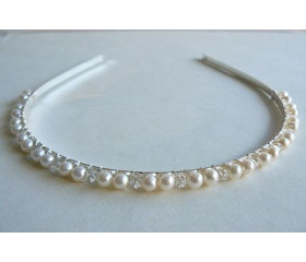 White Pearl & Crystal Hairband