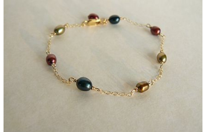 Autumn Mixed Colour Pearls Bracelet on Fine Gold Chain