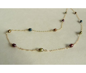 Autumn Mixed Colour Pearls Necklace on Fine Gold Chain