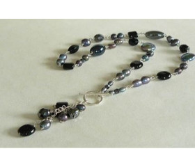 Black Bead & Pearl Silver Linked Necklace
