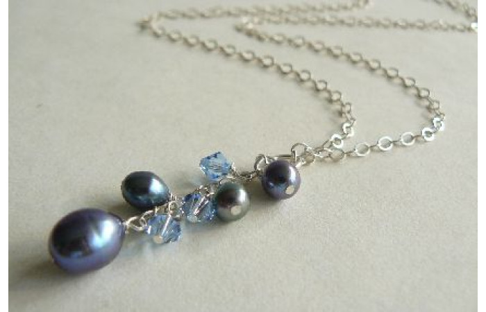Grey Pearl Cluster Necklace on Silver Chain