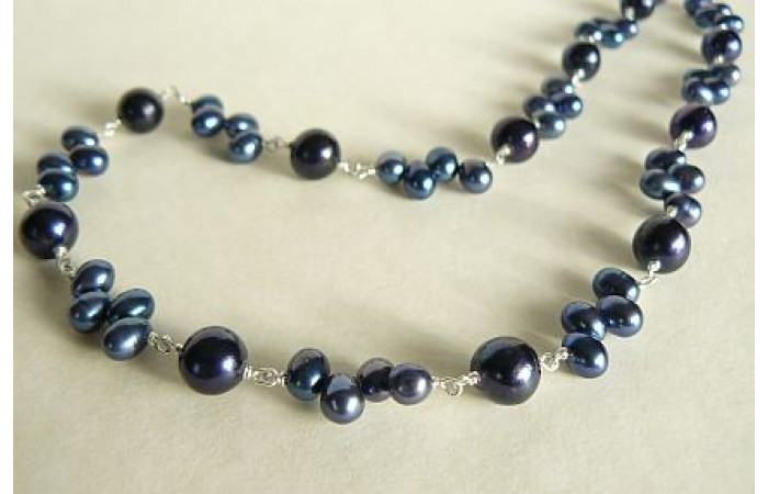 Blue Pearl Silver Linked Necklace