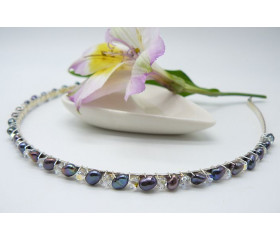 Grey Pearl & Crystal Hairband