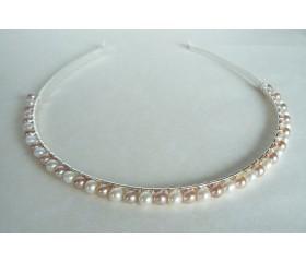White & Pink Pearl Hairband