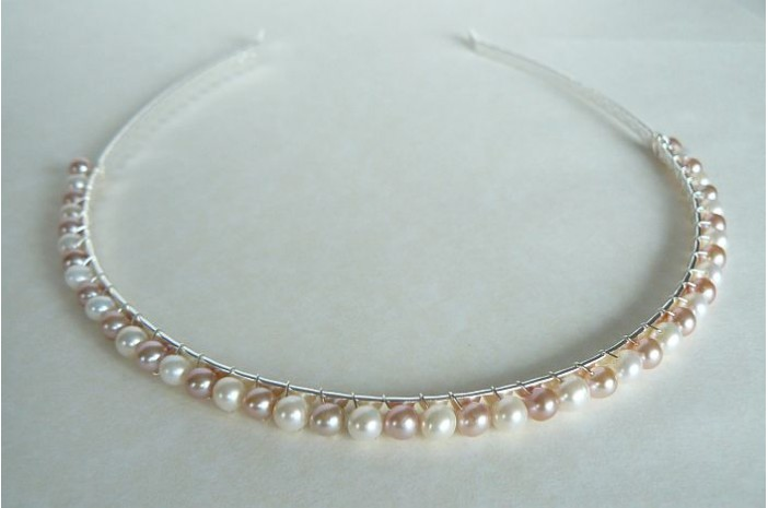 White & Pink Pearl Hairband