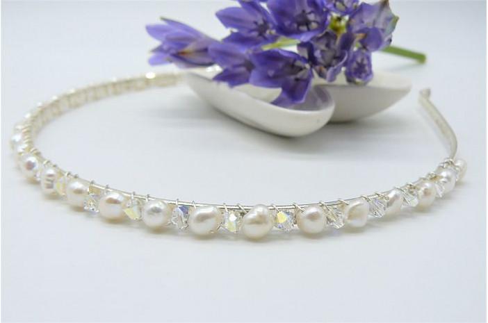 White Pearl & Crystal Hairband