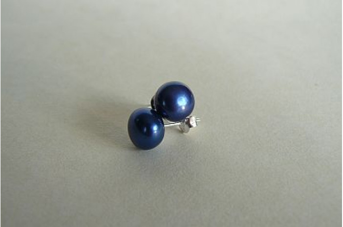 Bright Blue Pearl Stud Earring - Medium