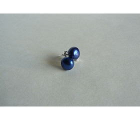 Bright Blue Pearl Stud Earrings - Small