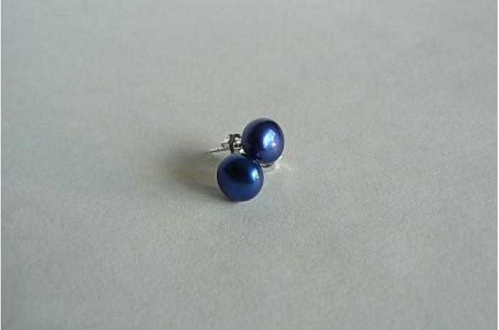 Bright Blue Pearl Stud Earring - Small