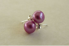 Bright Pink Pearl Stud Earring - Small