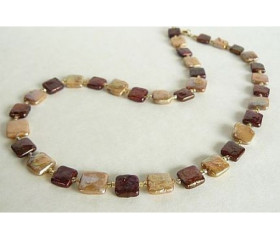 Bronze & Gold Square Pearl Necklace