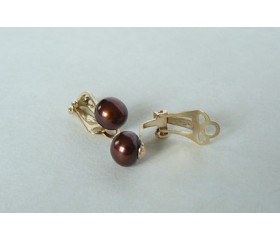 Bronze Pearl 9ct Gold Clip Earrings