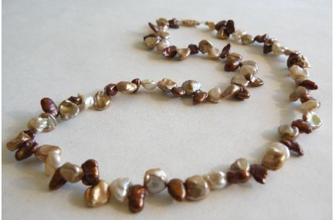 Bronze & Gold Keshi Pearl Necklace