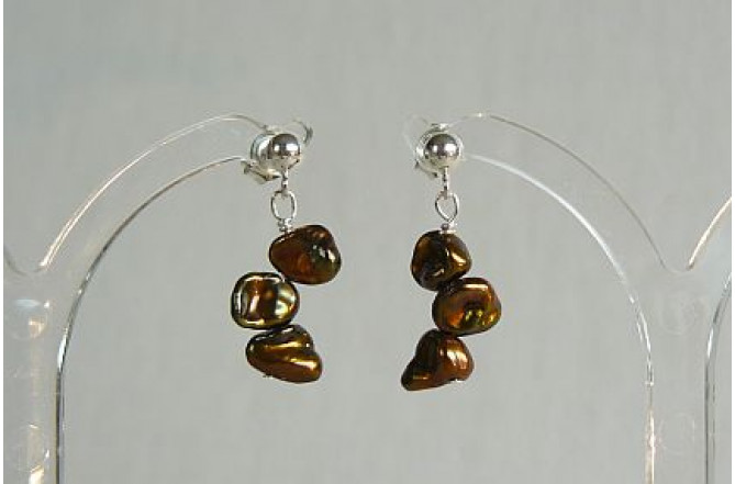 Bronze Keshi Pearl Drop Earrings