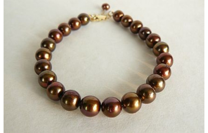 Bronze Large Round Pearl Bracelet